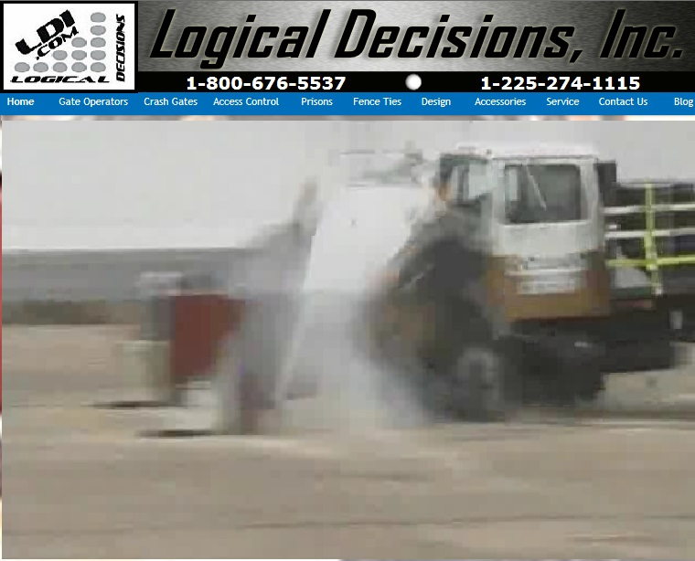 LDI K12 gate shows zero penetration as 50,000 lbs of truck hits at 50 mph. Click on the image to go to the video.