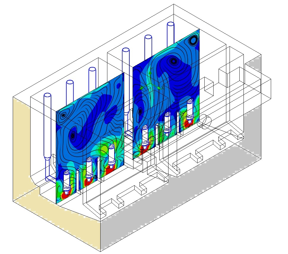 Computational Fluid Dynamics allowed the prime contractors to evaluate the high capacity pump stations at a variety of flow rates and pump combinations to ensure all operational requirements are met.
