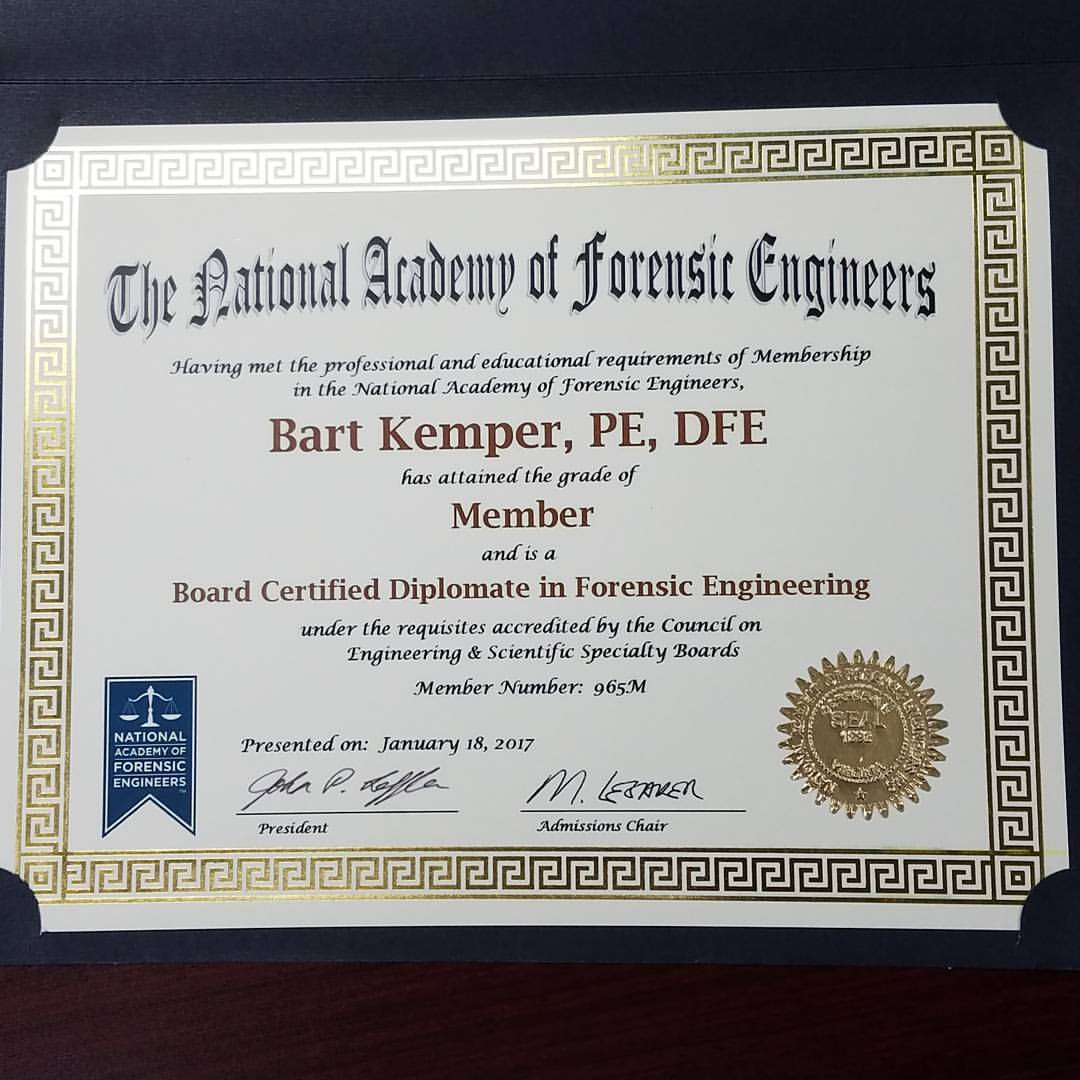 Bart Kemper becomes a board-certified forensic engineer | Kemper ...